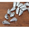18mm Cone Shell Charms, Antique Silver, Pack of 5