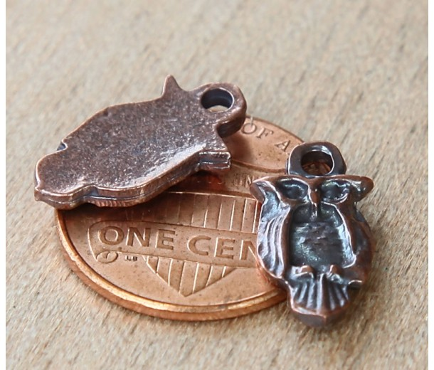 16x8mm Small Owl Charms, Bronze Plated, Pack of 6