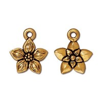 14mm Star Jasmine Drop by TierraCast, Antique Gold, 1 Piece