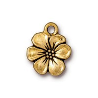 17mm Apple Blossom Drop by TierraCast, Antique Gold, 1 Piece
