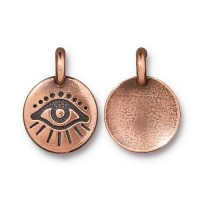 -16mm Evil Eye Charm by TierraCast, Antique Copper, 1 Piece