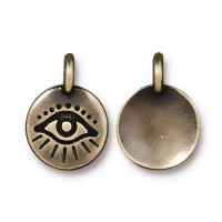 16mm Evil Eye Charm by TierraCast, Antique Brass, 1 Piece