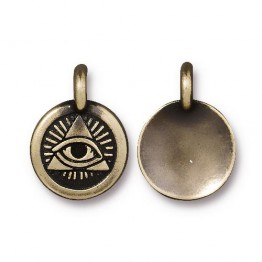16mm Eye of Providence Charm by TierraCast, Antique Brass