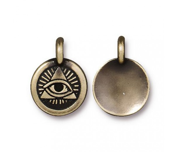 16mm Eye of Providence Charm by TierraCast, Antique Brass, 1 Piece