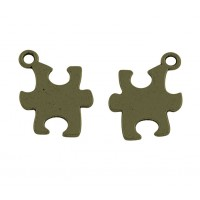 14mm Autism Puzzle Charms, Antique Brass, Pack of 5