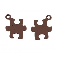 14mm Autism Puzzle Charms, Antique Copper
