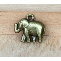 17x19mm Elephant Charms, Antique Brass