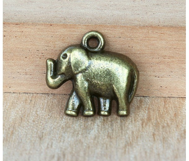 17x19mm Elephant Charms, Antique Brass, Pack of 5