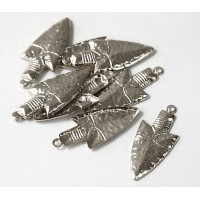 27mm Spearhead Charms, Rhodium Plated, Pack of 10