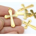 25mm Rosary Cross Charms, Gold Tone, Pack of 5