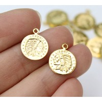 10mm Indian Head Coin Charms, Gold Tone, Pack of 10
