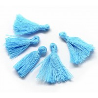 30mm Cotton Tassel Charms, Light Blue, Pack of 10