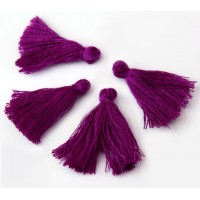 30mm Cotton Tassel Charms, Magenta