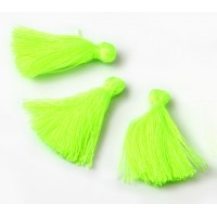 30mm Cotton Tassel Charms, Neon Yellowgreen, Pack of 10