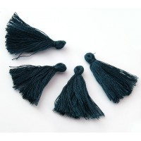30mm Cotton Tassel Charms, Marine Blue, Pack of 10