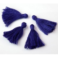 30mm Cotton Tassel Charms, Cobalt Blue, Pack of 10