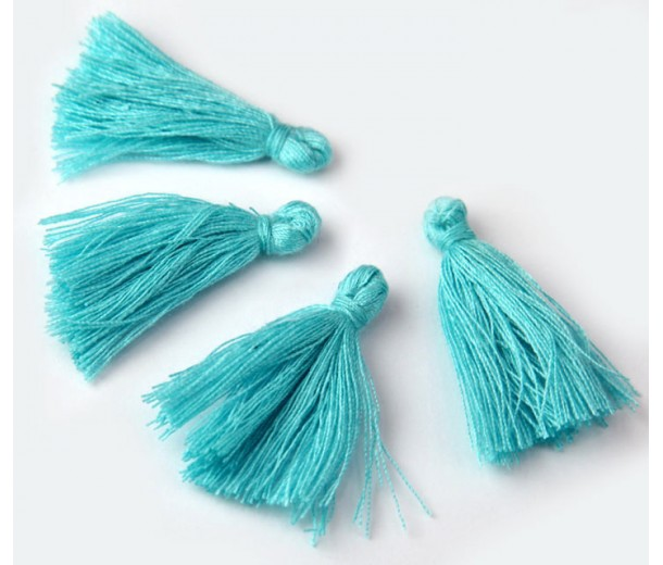 30mm Cotton Tassel Charms, Light Teal Blue