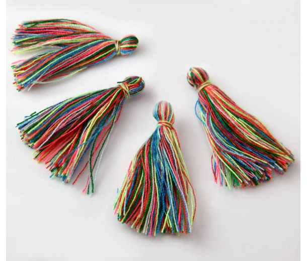 30mm Cotton Tassel Charms, Oriental Mix, Pack of 10