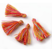 30mm Cotton Tassel Charms, Florida Mix, Pack of 10