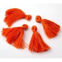 30mm Cotton Tassel Charms, Orange, Pack of 10