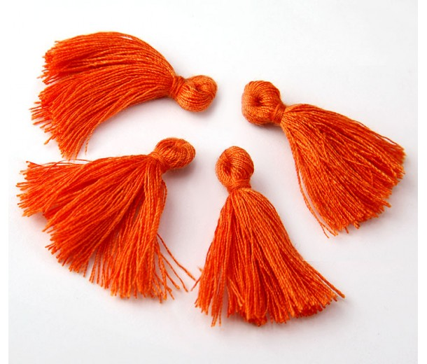 30mm Cotton Tassel Charms, Orange, Pack of 10