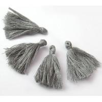 30mm Cotton Tassel Charms, Light Grey