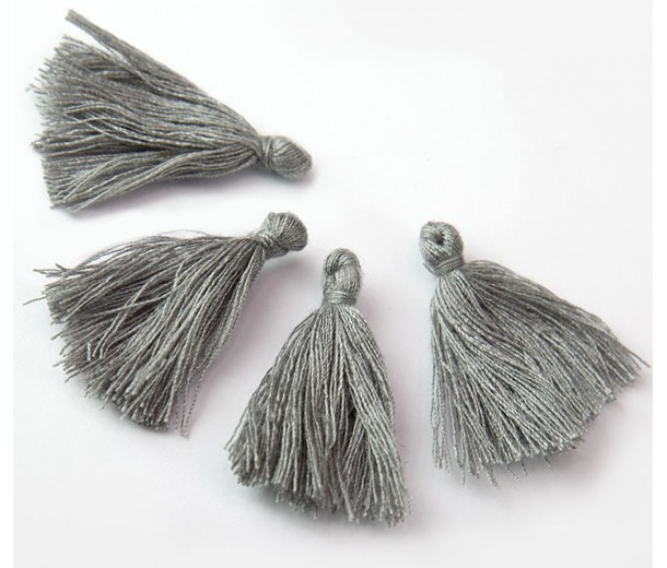 30mm Cotton Tassel Charms, Light Grey, Pack of 10