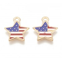 18mm American Flag Star Charm, Red White and Blue on Gold Tone, 1 Piece