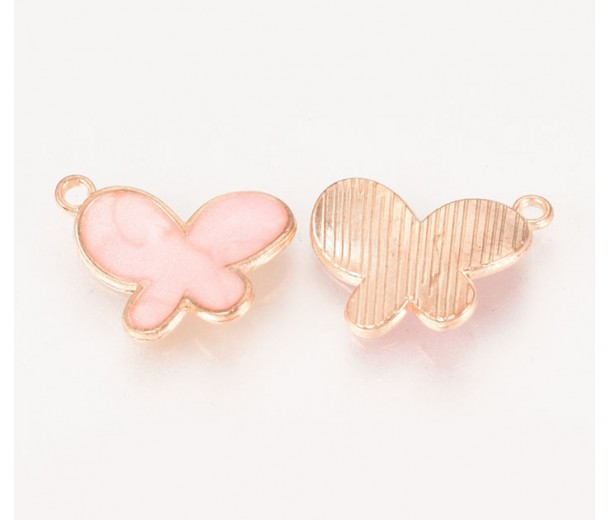 17mm Butterfly Enamel Charm, Light Pink on Gold Tone
