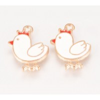 16mm Cute Chicken Enamel Charm, White on Gold Tone, 1 Piece