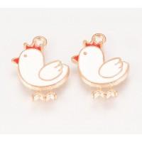 16mm Cute Chicken Enamel Charm, White on Gold Tone, 1 Piece