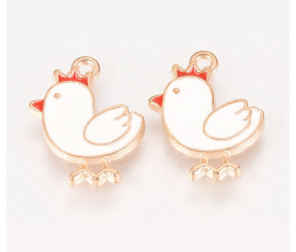 16mm Cute Chicken Enamel Charm, White on Gold Tone