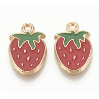 19mm Strawberry Enamel Charm, Red and Green on Gold Tone