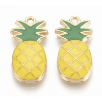 24mm Pineapple Enamel Charm, Yellow and Green on Gold Tone, 1 Piece
