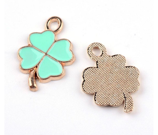 19mm Good Luck Clover Enamel Charm, Teal on Gold Tone, 1 Piece