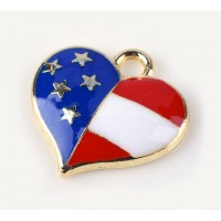 16mm American Flag Heart Charm, Red White and Blue on Gold Tone