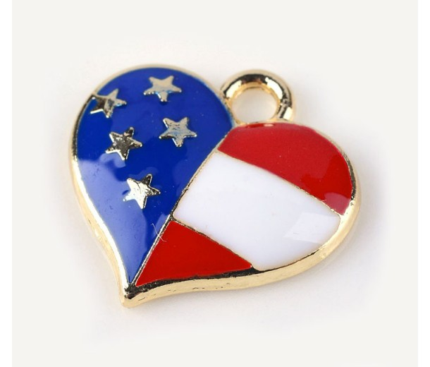 16mm American Flag Heart Charm, Red White and Blue on Gold Tone, 1 Piece