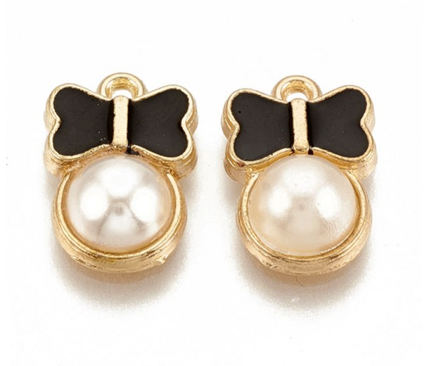 15mm Bow and Acrylic Pearl Enamel Charm, Gold Tone, 1 Piece