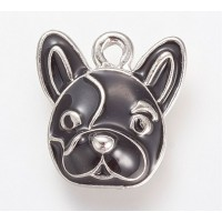 15mm French Bulldog Enamel Charm, Black on Rhodium Finish, 1 Piece