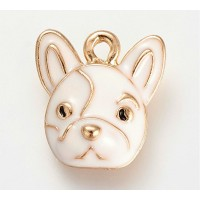15mm French Bulldog Enamel Charm, White on Gold Tone, 1 Piece