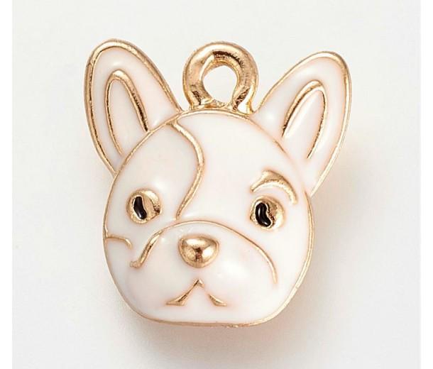 15mm French Bulldog Enamel Charm, White on Gold Tone, 1 Piece