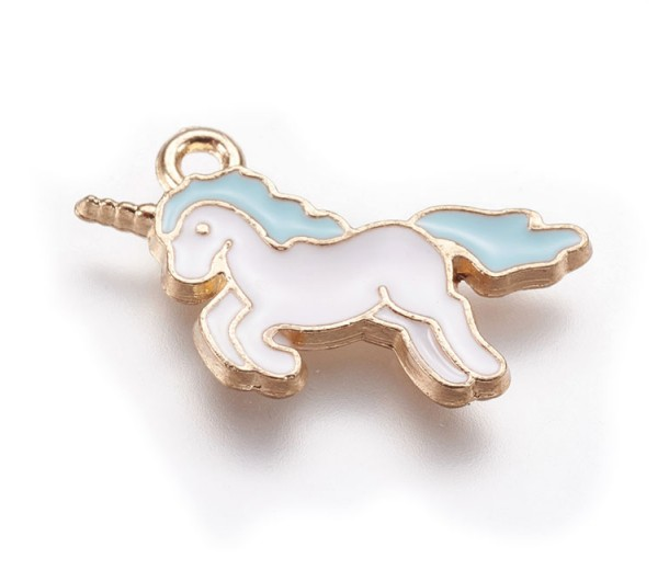 20mm Unicorn Enamel Charm, Pastel Purple on Gold Tone