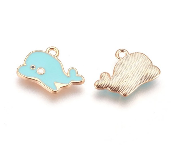 13mm Cute Dolphin Enamel Charm, Light Blue on Gold Tone, 1 Piece