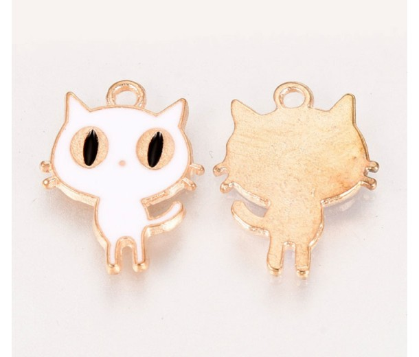 18mm Cute Cat Enamel Charm, White on Gold Tone, 1 Piece