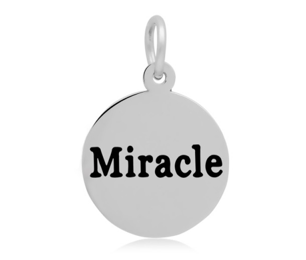 16mm Stamped Stainless Steel Word Charm, Miracle