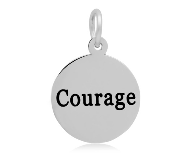 16mm Stamped Stainless Steel Word Charm, Courage
