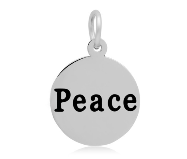 16mm Stamped Stainless Steel Word Charm, Peace