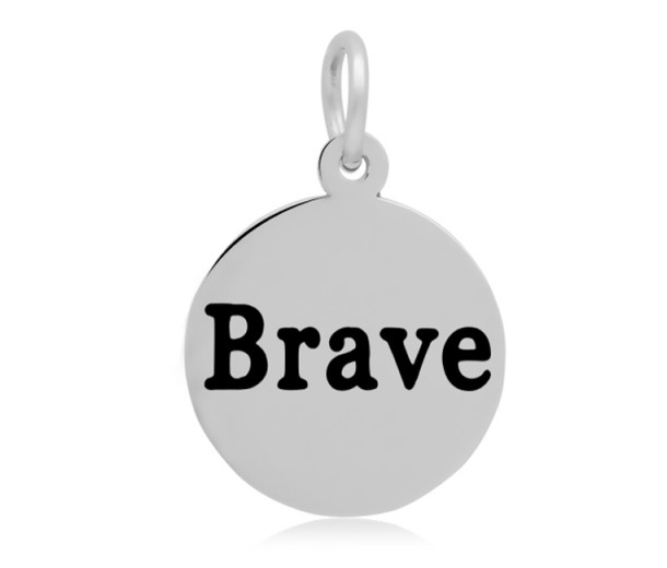 16mm Stamped Stainless Steel Word Charm, Brave