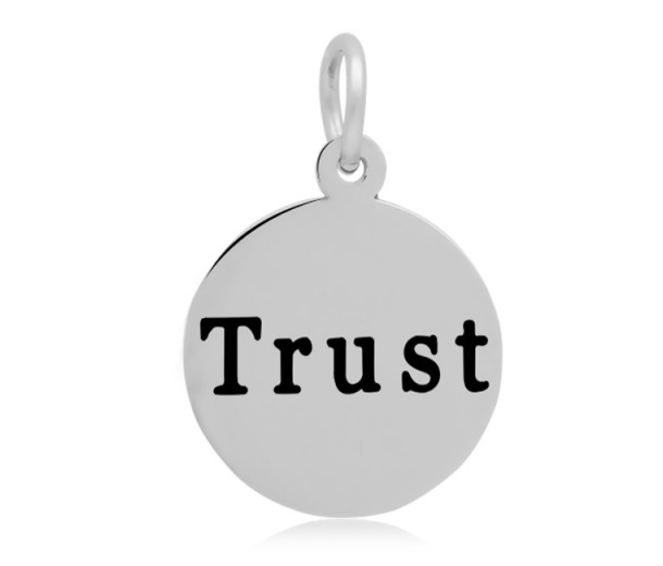 16mm Stamped Stainless Steel Word Charm, Trust