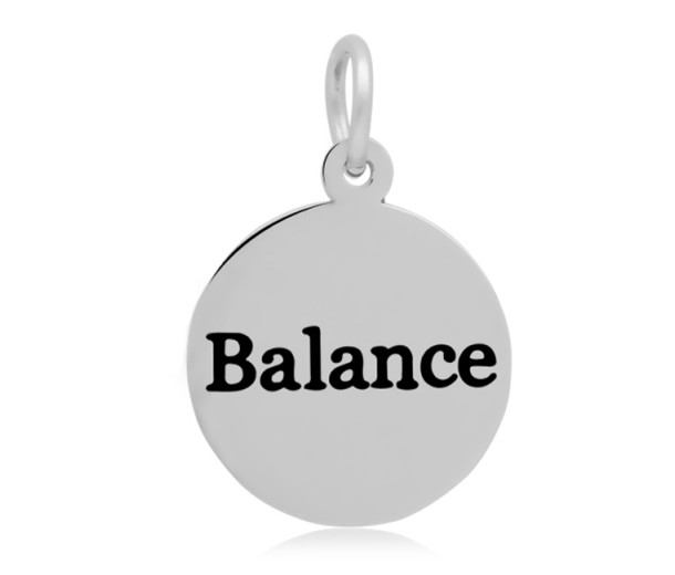 16mm Stamped Stainless Steel Word Charm, Balance